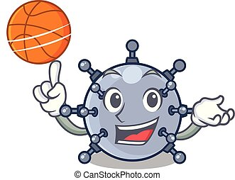 With basketball mine underwater isolated with the mascot...
