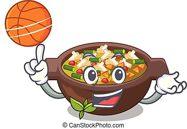 With basketball minestrone isolated with in the cartoon...