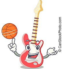 With basketball miniature guitar electric in the cartoon...
