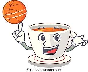 With basketball mint tea above wooden cartoon table vector...