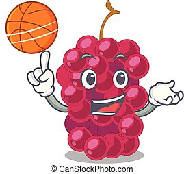 With basketball mulberry fruit on a cartoon table vector...