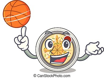 With basketball naengmyeon served on a mascot board vector...