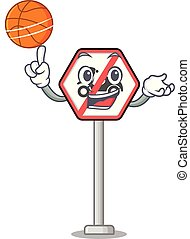 With basketball no motorcycles mascot isolated with cartoon...