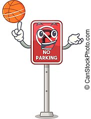 With basketball no parking mascot shaped on cartoon vector...