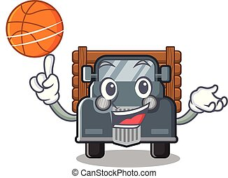 With basketball old truck isolated in the cartoon