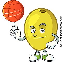 With basketball olive cartoon mascot for ingredient herbal...