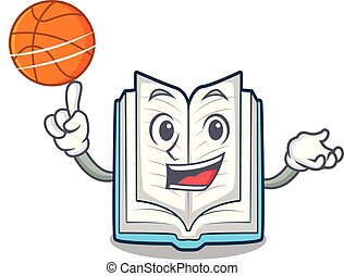 With basketball opened book on the cartoon table vector...