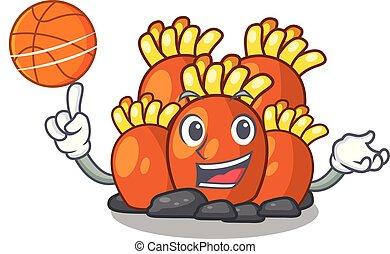 With basketball orange coral reef toys shape cartoon vector...