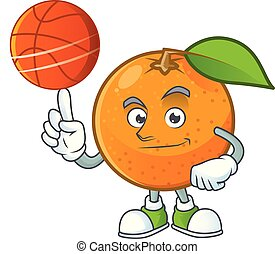 With basketball orange fruit cartoon with leaf green. vector...