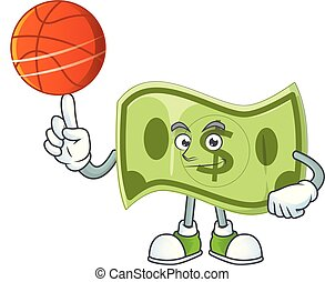 With basketball paper money cartoon character with mascot...