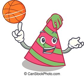 With basketball party hat character cartoon vector ...