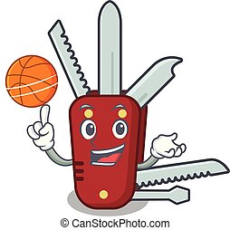 With basketball penknife isolated with in the mascot vector...