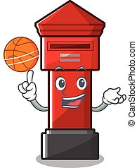 With basketball pillar box isolated with the cartoon...