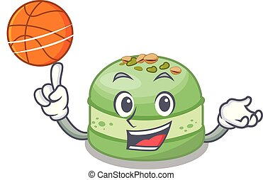 With basketball pistachios cake in the saucer cartoon vector...