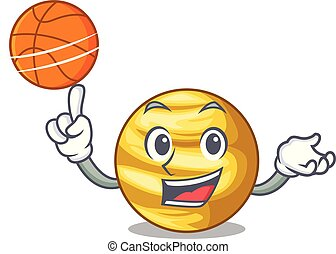 With basketball planet venus in the shape character vector...