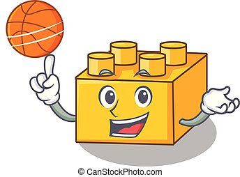 With basketball plastic building blocks cartoon on toy