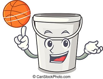 With basketball plastic tube bucket isolated the character...