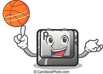 With basketball R button installed on cartoon keyboard...