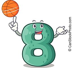 With basketball raster version cartoon shaped Number Eight