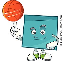 With basketball rectangle sticker paper cartoon for work....