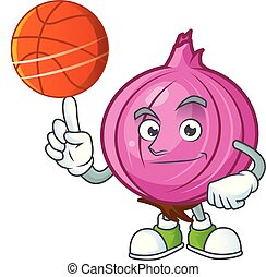 With basketball red onion cartoon for recipe food vector...