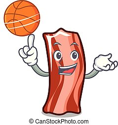 With basketball ribs character cartoon style vector...