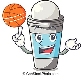 With basketball roll on deodorant above the mascot vector...