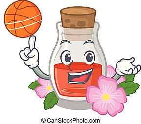 With basketball rosehip seed oil in cartoon bottle vector ...