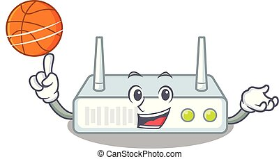 With basketball router in the a character shape vector...