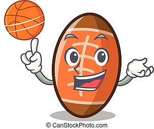 With basketball rugby ball character cartoon
