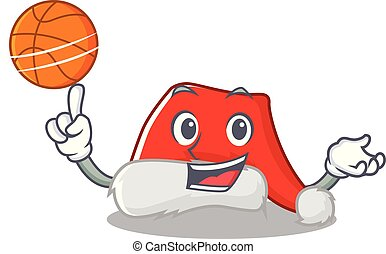 With basketball santa hat isolated in the mascot vector...