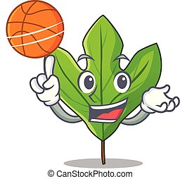 With basketball sassafras leaf isolated in the character...