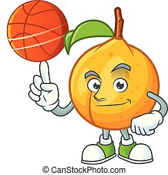 With basketball seeds nutmeg with cartoon character style...