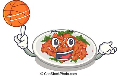 With basketball sesame chicken served on mascot plate vector...