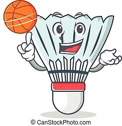 With basketball shuttlecock character cartoon vector