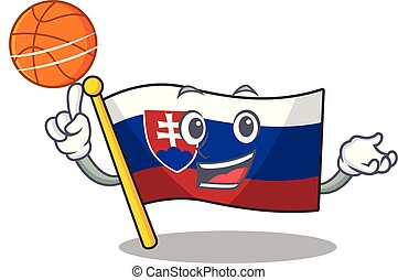 With basketball slovakia cartoon flag fluttering on pole...