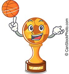 With basketball soccer trophy isolated with the cartoon...