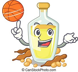 With basketball soybean oil put in cartoon bottle