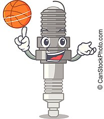With basketball spark plug in the character shape