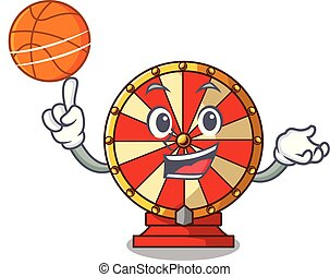 With basketball spinning wheel game the mascot shape vector...