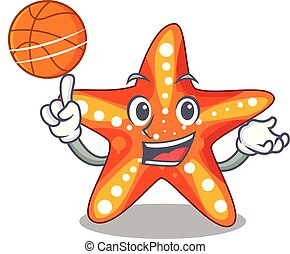 With basketball starfish beside the in character beach
