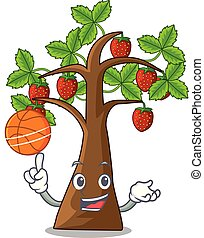 With basketball strawberry tree in the shape character...