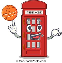 With basketball telephone booth character shape on mascot...