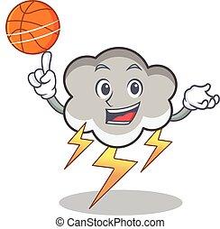 With basketball thunder cloud character cartoon