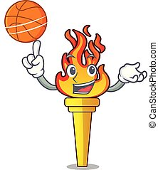 With basketball torch character cartoon style