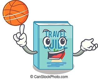 With basketball travel guide book the shape mascot vector...