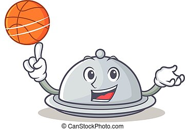 With basketball tray character cartoon style