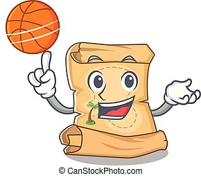 With basketball treasure map in the character shape