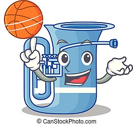With basketball tuba in the mascot music room vector...
