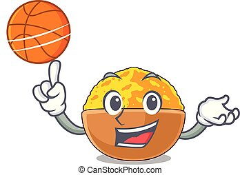 With basketball turmeric powder isolated with the mascot...